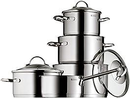 WMF Provence Plus - Batería de cocina de 5 piezas, 1 cacerola de 2,5 litros, 3 ollas de 1,9, 3,3 y 5,7 litros, 1 cazo de 1,5 litros