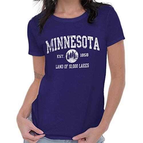 - Minnesota State Vintage EST Retro Hometown Ladies T Shirt Purple
