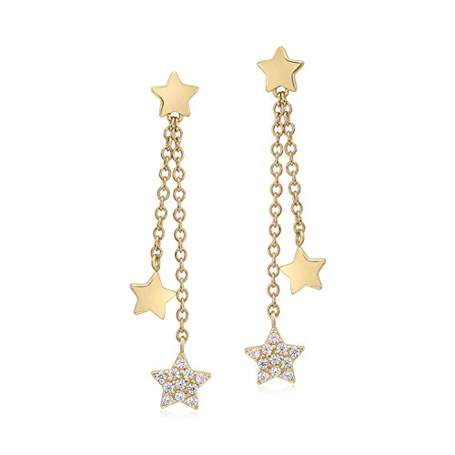 UNICORNJ 14K Yellow Gold Polished and Pave CZ Long Double Dangle Drop Star Earrings Italy ()