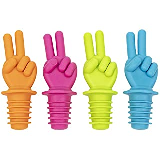 Peace Fingers Bottle Stoppers 4 Pack Silicone Cork - Makes Excellent White Elephant Novelty Gag Gift for Wine Lovers