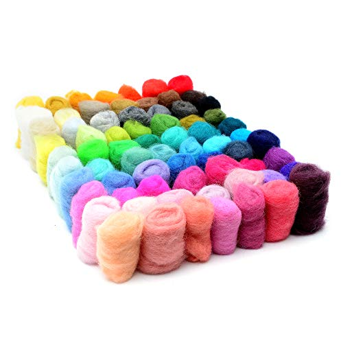 Glaciart One Needle Felting Wool - 70 Colors (6g per Color) Unspun Needle Felt Roving & Felting Yarn Craft Supplies - Multi Colored Soft Raw Fiber for Fabric, Material & Crafting