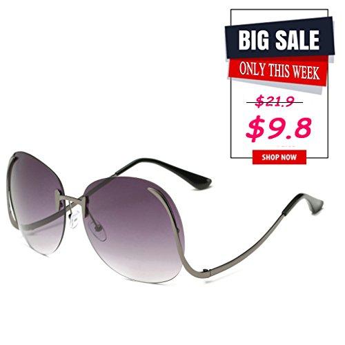 Paciffico Unisex Adults Fashion Oversized Aviator Sunglasses Metal Frame Mirror Frameless Eyeglasses PC Lens Glasses - Hawkers Sunglasses Shop