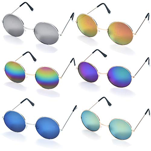(6 Pack Retro Circle John Lennon Style Round Hippie Mirrored Sunglasses Colored Small Metal Frame)
