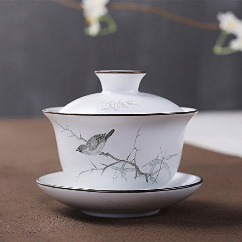 XDOBO Chinese Hand-painted Ceramic Gongfu Teacup - Gaiwan Tea Sets (Painted Teacup Hand)