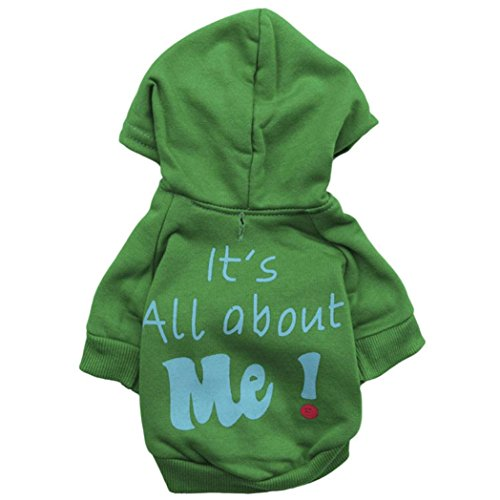 Gotd Pet Puppy Dog Jumpsuit Winter Clothes Dress Shirt Apparel Costume Outwear Coat (L, Green) (Pumpkin Outfit For Dogs)