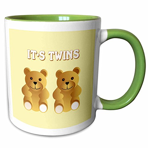 3dRose 777images Patterns for Kids - Its twins. Two brown teddy bears announce the new arrivals. - 15oz Two-Tone Green Mug (mug_165753_12)