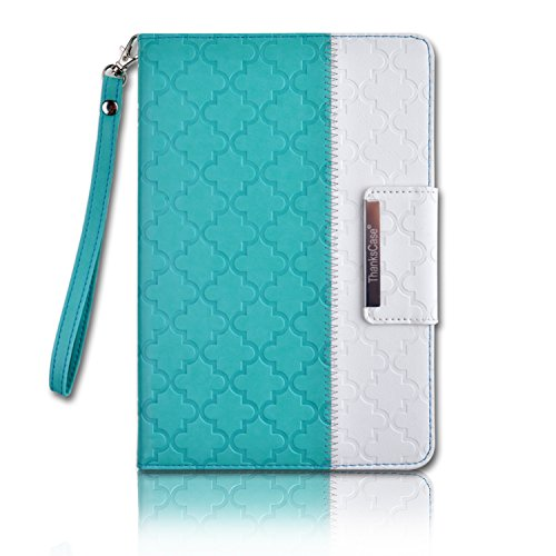 Thankscase Case for iPad Mini 4, Rotating Leather Case Smart Cover with Beautiful Quatrefoil Lattice Embossed Pattern, Swivel Case with Wallet Pocket and Hand Strap for iPad Mini 4 (Mint Quatrefoil)