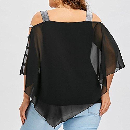 Noir Sexy Asymétrique Overlay Bretelles Sans ❤️Femmes Tefamore Blouse Mode Size Blouse Ladder Cut Plus OgnnqSHW8d