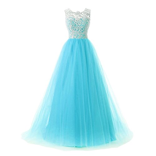 Sleeveless Layers 3 Lace Gown Blue Women's Dresses Evening Light Long Prom HwFdFq