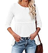 Womens Casual Long Sleeve Waffle Shirts Crewneck Loose T-Shirt Hollow Out Knit Tee Tops