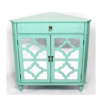 - Heather Ann Creations Modern 2 Door Corner Cabinet With Drawer With 8 Pane Clover Mirror Insert Turquoise