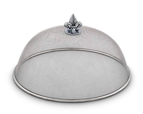 Arthur Court Stainless Steel Mesh Picnic Food Cover Protectors for Bugs, Parties Picnics, BBQs/Cast Aluminum Fleur de Lis Knob 5.5