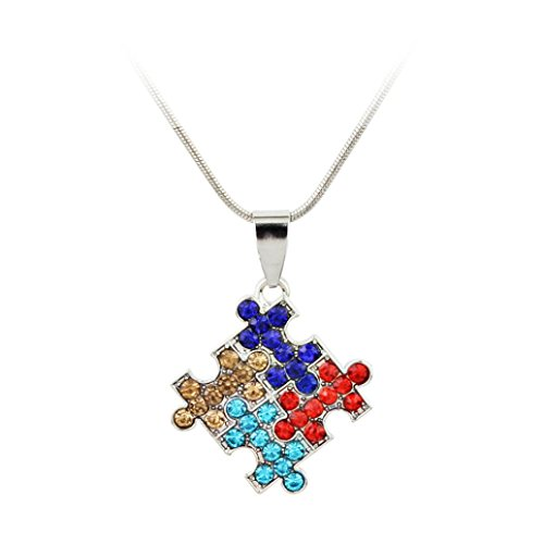 Celendi_Jewelry Women's Four Petal Pendant Necklaces Colour Drilled Alloy Pendant Necklaces