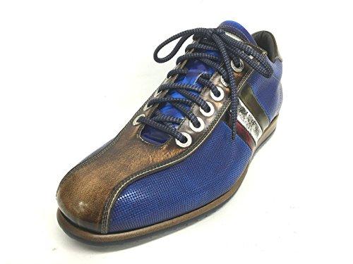 Harris Scarpe Uomo Sneacker Blu Lino Saffiano Tricolore Fatte Mano (6 Uomo)