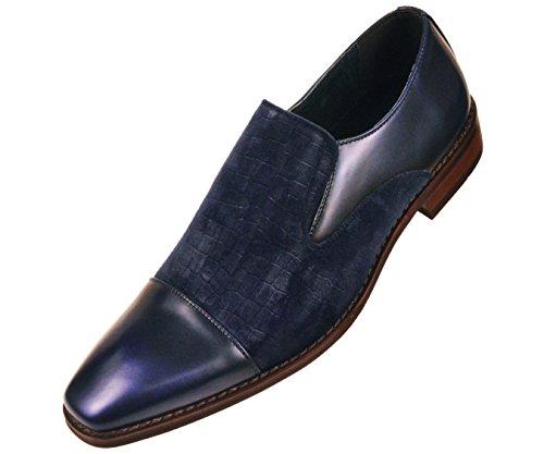 Amali Mens Comfortable Faux Velvet Crocodile Smooth Cap Toe, Slip On Formal Dress Shoe