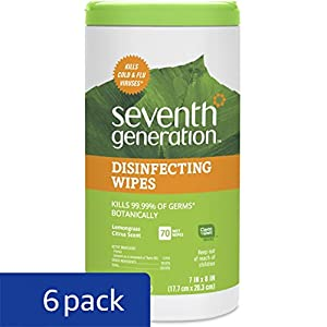 Seventh Generation Disinfecting Multi-Surface Wipes, 70-count Tubs (Pack of 6) Packaging May Vary