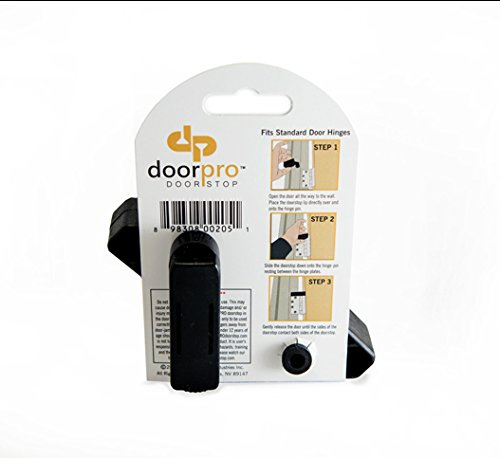 DoorPRO Doorstop Commercial Black Doorstops with Belt Clip, Fits up to 3/4-Inch Hinges, Pack of 2 by DoorPRO Doorstop