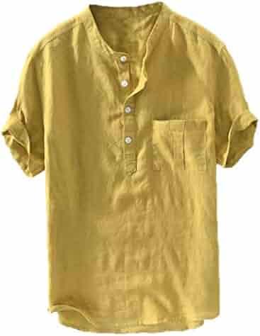fb952c3d Toimothcn Men's Linen Shirt Casual Short Sleeve Button Down Top Henly Shirts  with Pocket