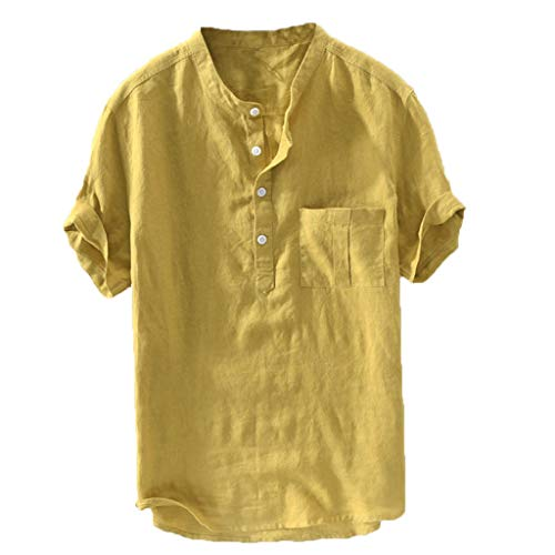 OrchidAmor 2019 Men's Tees, Summer New Pure Cotton Hemp Button Short Sleeves Fashion Large Blouse Top Yellow