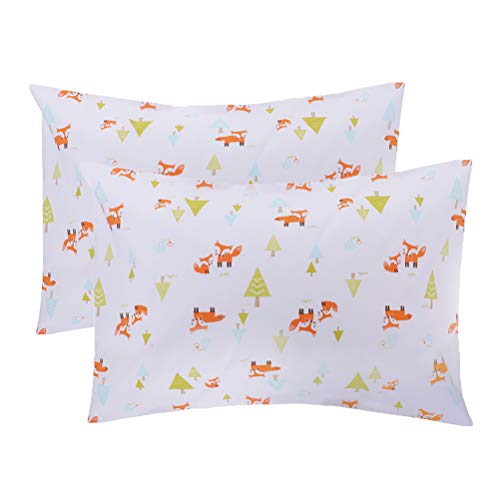 Tebery 2 Pack Toddler Pillowcases 100% Cotton Pillow Protectors 14 x 19 for 13 x 18, 12 x 16 Pillow Cute Animals…