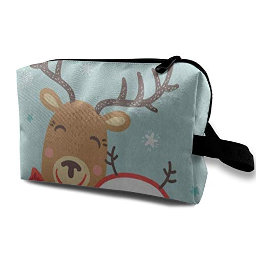 Makeup Bag Merry Christmas Reindeer Snowman Snowflake Portable Travel Multifunction Clutch Pouch Bags Marvellous Holder for Girls