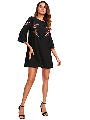 59bacbb94dc0c7 Floerns Women's Bell Sleeve Embroidered Tunic Dress - Delocus Store