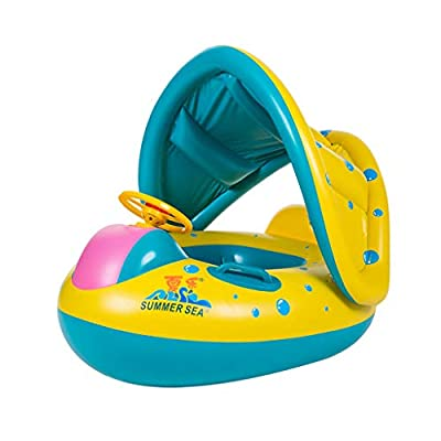 GreatGiftList Baby Swimming Pool Floats, Baby Pool Float Inflatable Swimming Ring with Safety Seat Sunshade Canopy for Age 6-36 Months Old Infant Toddler: Toys & Games