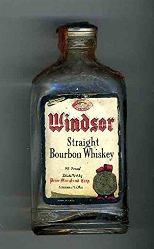 Windsor Straight Bourbon Whiskey Empty Miniature Glass Bottle 1930's