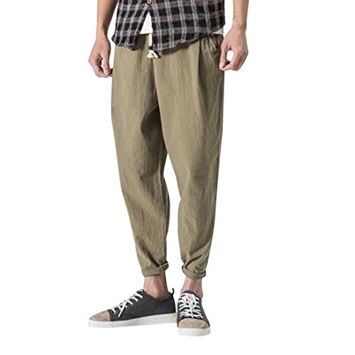 Hmlai Clearance Men's Cotton Linen Harem Pant Drawstring Elastic Waist Casual Baggy Ankle-Length Trouser (M, Army Green)
