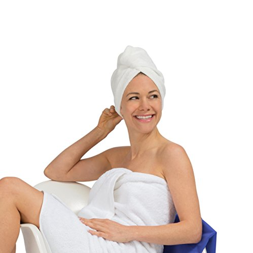 ENWRAPTURE The Only Luxury Hair Towel Wrap Made In USA   Swarovski Button   Nanofiber Beats Microfiber To Dry Wet Hair Fast   Twist Turban In 2 Easy Styles   Large For Long Or Curly   GIFT Travel Case by TURBELLA (Image #2)