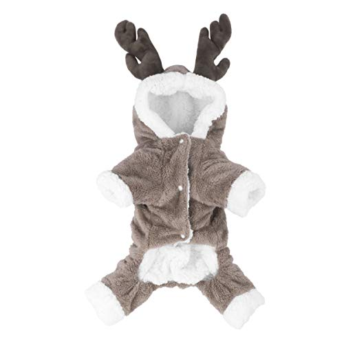 iEFiEL Christmas Elk Costume Fleece Hoodies Coat Jumpsuit for Pet Dogs and Cats Coffee Medium -
