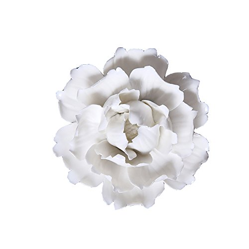 ALYCASO Wall Decoration for Living Room Bedroom Wall Hanging 3D Wall Art Ceramic Flower Pediments Sculpture, White Peony, 12cm -