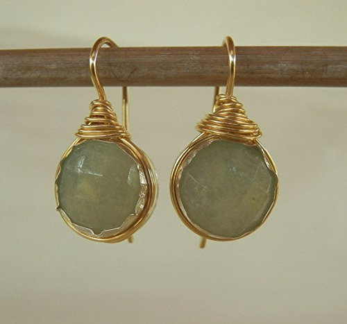 Handcrafted Round Wire Wrapped Earrings in Gold Filled with Aquamarine Gemstone