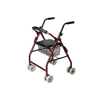 Andador de 4 ruedas –Andador para ancianos con asiento – Rollator de aluminio – Ayudas