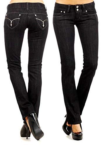- New Silver Kiss Junior Women's Blue Denim Premium Stretch Bootcut Jean Pants (15, Clash Jeans Lp8897 Black)