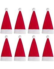 BESPORTBLE 24 stuks mini kerstman hoed kerstmuts bestek organisator tas wijnflessendop tas snijder vorken afdekkingen tas voor keukenfeest huisdecoratie