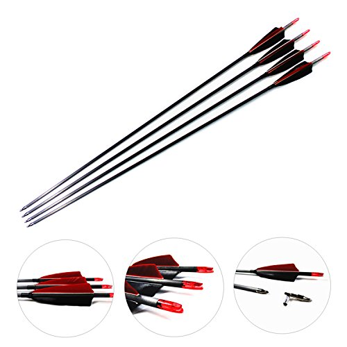 MS JUMPPER Carbon Archery Arrows 340 Spine Hunting Shaft with Natural Feathers and Removable Tips for Compound Recurve Bows (Pack of 6) ()