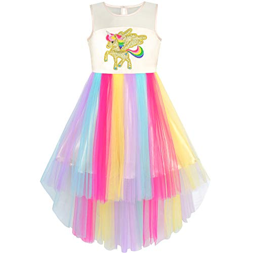 Girls Dress Embroidered Unicorn Rainbow Holiday Pageant 10]()