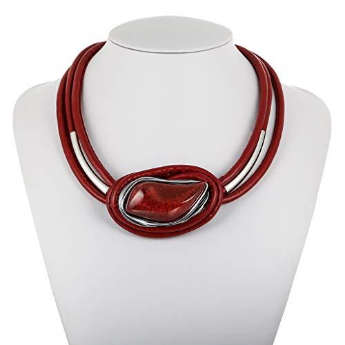 Geometric Necklace Leather Cord Jewelry,Onefa Women's Trends ElegantPersonality Creative Resin Leather Cord Necklace Jewelry (Red)