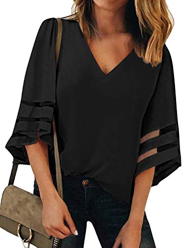 (Womens Black 3/4 Bell Sleeve V Neck T Shirts Loose Lace Mesh Patchwork Chiffon Blouse Tops)