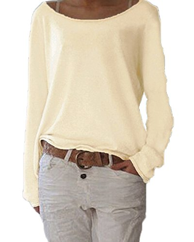 (ZANZEA Women's Solid O Neck Long Sleeve T Shirt Casual Knit Tops Blouse Pullover Off White US 8-10/Tag Size M)