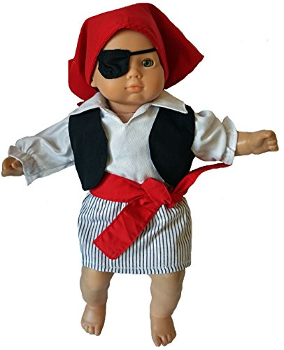 Doll Clothes Halloween Pirate Costume 6 Pieces Fits Baby Dolls And Cabbage Patch (Cabbage Patch Kids Halloween)
