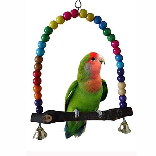 Beauty*Top*Picks Holz-Vogelschaukel, für Sittiche, Nymphensittiche, Unzertrennliche, Wellensittiche, zum Aufhängen im Käfig