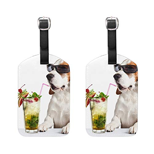 Drinks Sunglasses Beagle Luggage Tag Perfect to Quickly Spot Luggage Suitcase