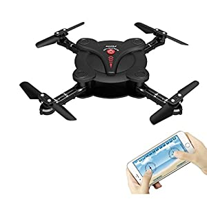 Hobbylane Altitude Hold Folding Drone with Camera FPV, Flexible Foldable Aerofoils Quadcopter with Mobile Phone App Wifi Control, UAV 6-Axis Gyro Gravity Sensor RTF Helicopter Toys for Adults (Black)