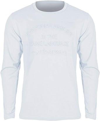 Givova – Camiseta de Cuello Redondo de Manga Larga Blanca 100% algodón con impresión Frontal con Texto Givova – Deporte Running Fitness Correr Gimnasio Casual Bianco L: Amazon.es: Ropa y accesorios