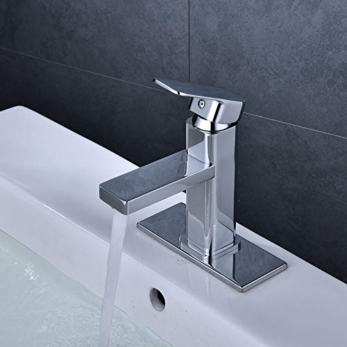 RUMU Bathroom Faucet Single Handle Chrome Bathroom Sink Faucet 4 Inch Spout Washbasin Single Hole Sink Faucet with Stainless Steel Deck Lavatory