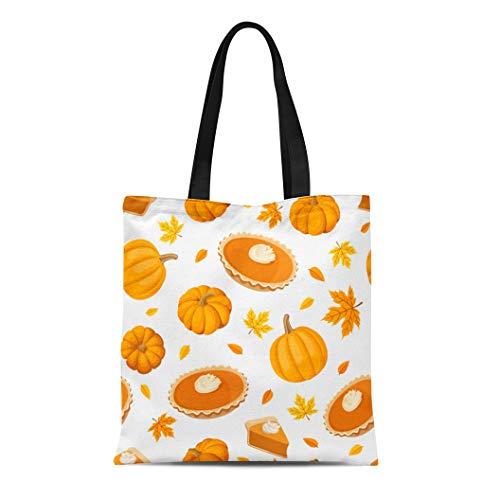Semtomn Canvas Tote Bag Beige Thanksgiving Pumpkin Pies and Brown Dessert Pattern Leaf Durable Reusable Shopping Shoulder Grocery Bag -