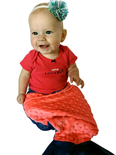 Baby BooBear Mermaid Tail, PUMPKIN & Blue BABY Halloween Costume, Minky Dot Swaddle Blanket for Newborns, Infants, Babies, Toddlers, Dolls, Shower Gift,Fits Large (Halloween Doll Patterns)
