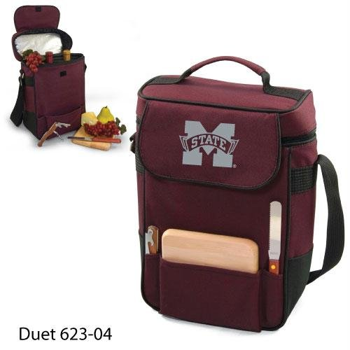 Burgundy 600 Denier Polyester - PICNIC TIME NCAA Mississippi State Bulldogs Duet Insulated Wine and Cheese Tote with Team Logo